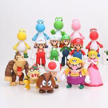 8 - 15cm Super Mario Bros Bowser Koopa Yoshi Mario Luigi Mushroom PVC Figure Toys children gift(China (Mainland))