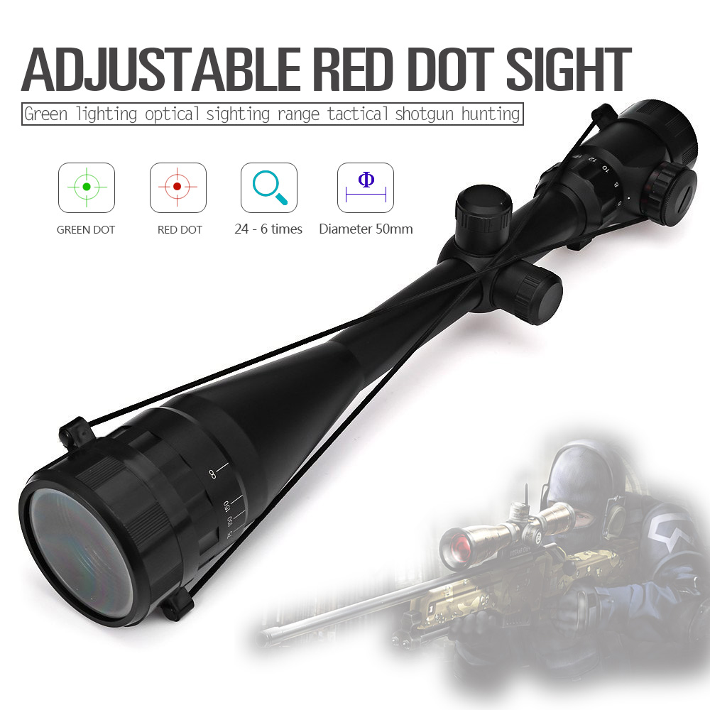 6-24X50EG Riflescope Adjustable Green Red Dot Hunting Light Tactical Scope Reticle Optical Sight Scope(China (Mainland))