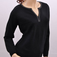 100% goat cashmere women fashion unique V-neck sweater pullover black/rose pink/red S-3XL free shipping(China (Mainland))
