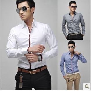 free shipping 2014 new mens stylish casual slim shirts long sleeve edge design dress shirts 4 colors M-XXL 5910