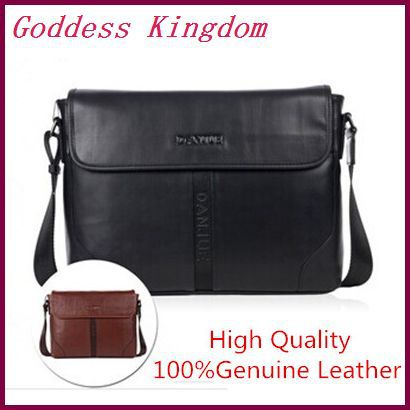 New 2014 best quality brief shoulder bags men genuine leather messenger bags black/brown  A9004<br><br>Aliexpress