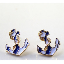 Europe and the United States jewelry wholesale blue sea JunChuan anchor fashion stud earrings earrings(China (Mainland))
