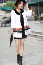 New Arrival Women's Fashion Genuine Rabbit Fur Winter Coat Ladies' Graceful Warm Garments In Stock Free Shipping JQ1056