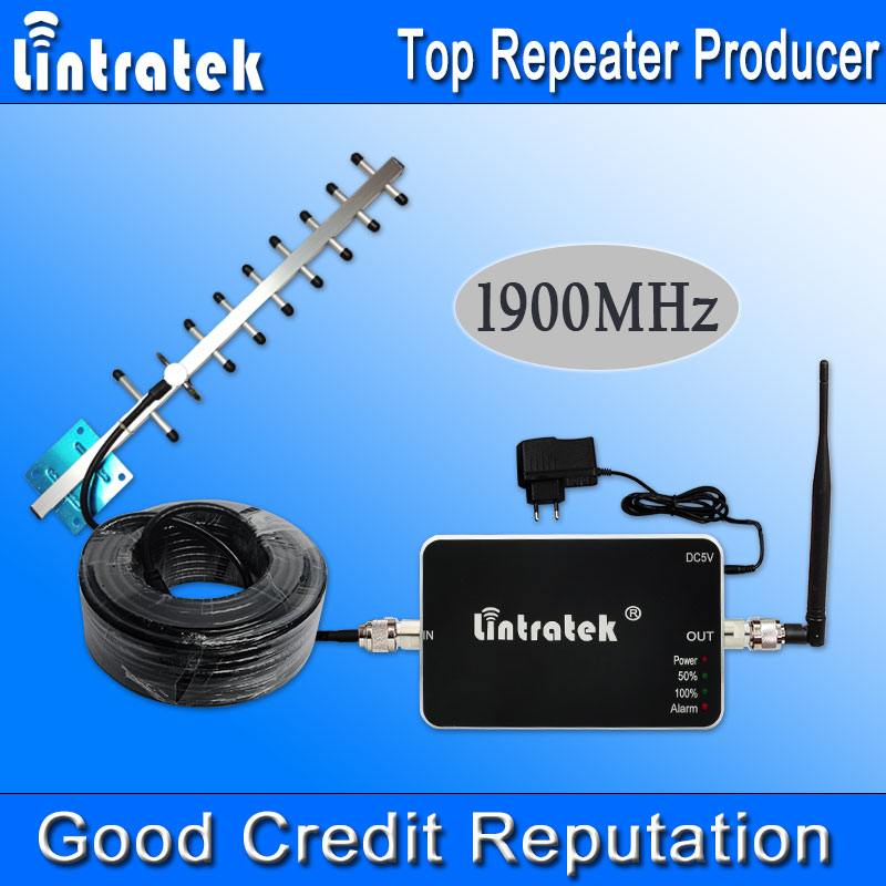 Lintratek GSM 1900MHz Cellular Repeater FDD 4G LTE Band 2 1900 Mhz UMTS Cell Phone Signal 3G Amplifier Yagi Antenna Set Hot S20(China (Mainland))