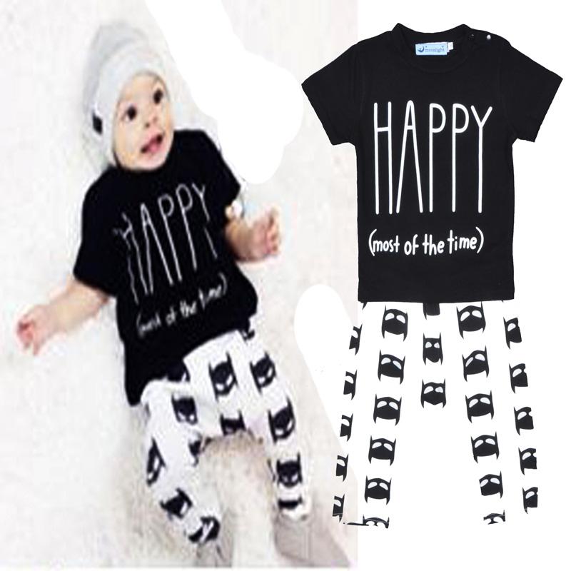 Bobo choses boy clothing sets Cartoon Animal Printed kids clothes Happy(most of the time)T shirt+fashion pants 2pcs/set vestidos(China (Mainland))
