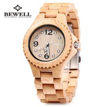 BEWELL Men's Wooden Watch Sandalwood Unisex Sandalwood Japan Quartz Watches Wristwatch For Mens Women Relogio masculino
