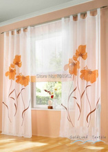(Two Panels) Hot German Fashion Flowers Printing Ready Made Voile Window Curtain screening  Free shipping(China (Mainland))