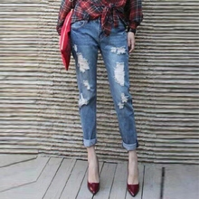Fashion AA BF Hole Jeans Casual Loose Pants Beggar Pants Female Trousers