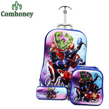 The Avengers Travel Luggage+School Bag Set for Students Boys Girls School Backpack Pencil Case Suit Backpacks for Students(China (Mainland))