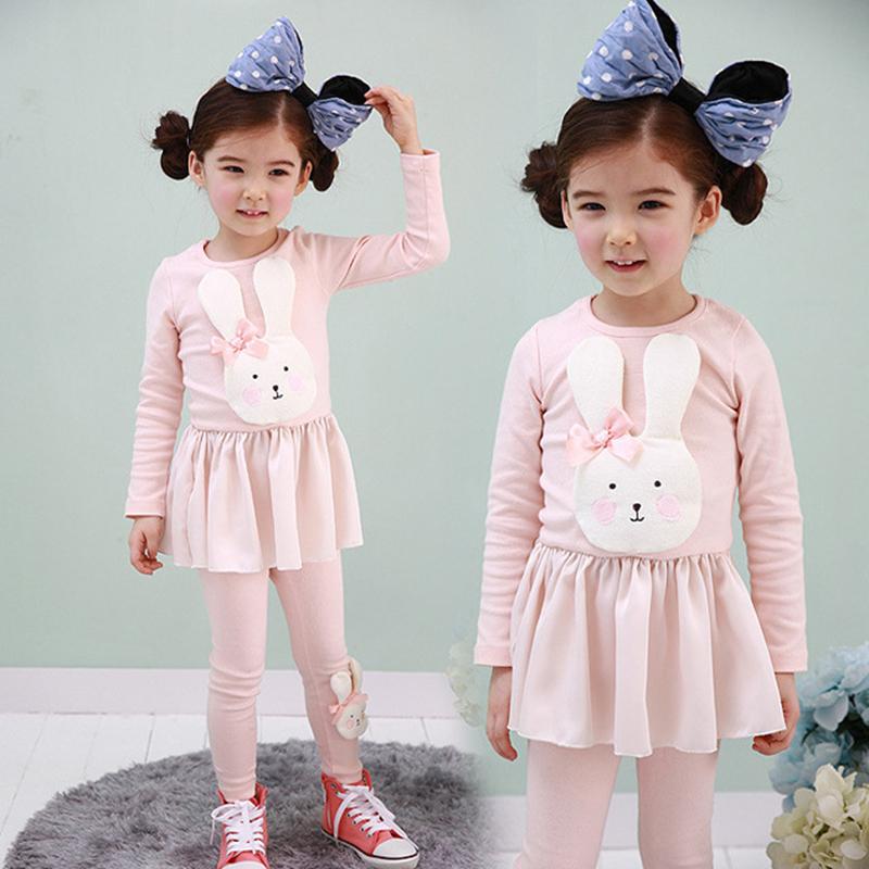 Retail Autumn children clothing Little baby girls dress Long sleeve T-shirt+Long pants baby girl clothes ,girls clothing sets(China (Mainland))