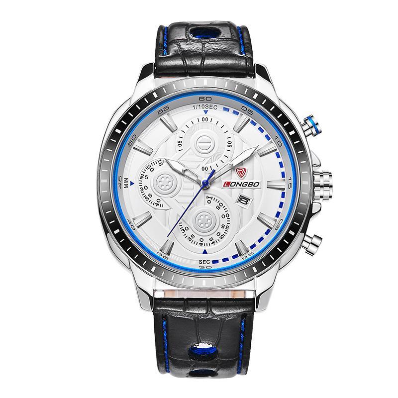 LONGBO Роскошные Мужчины Натуральная Кожа Часы Спортивные Кварцевые Часы Для Мужчин Мужской Досуг Часы Простые Часы Relogio Masculino 80198