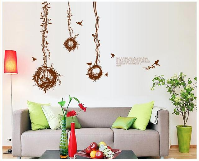 Бесплатная доставка 7026 абстрактный птичье гнездо стикеры гостиной спальня отличительные знаки съемные печать росписи искусство стикер