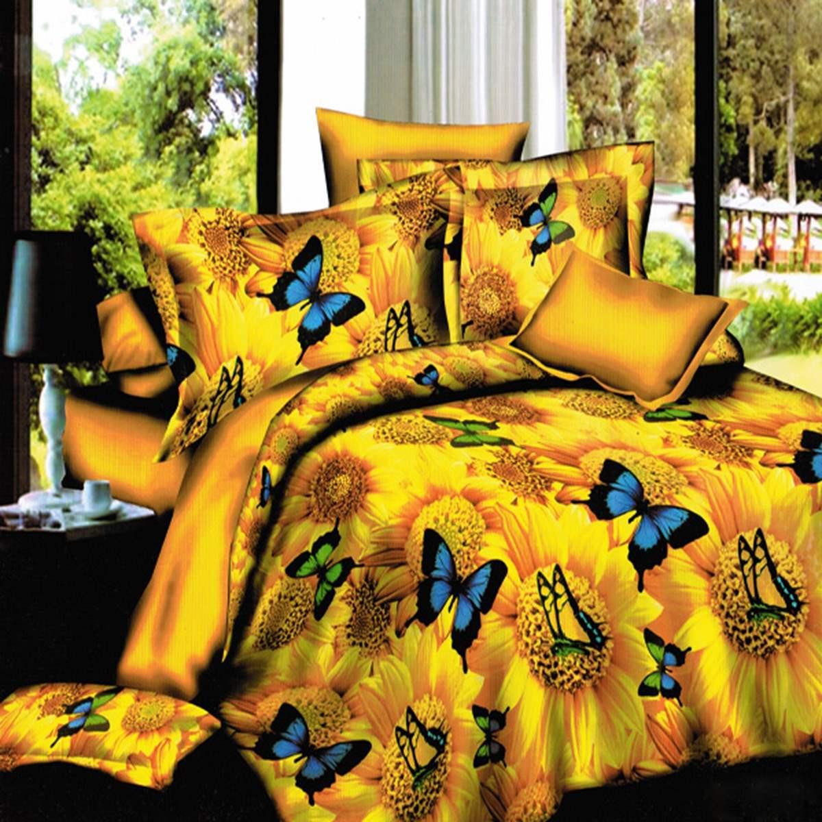 4Pcs 3D Polyester Printed Golden Sunflower Butterflies Queen Bedding Set Pillowcase+bed sheet+Duvet cover Home Texile(China (Mainland))