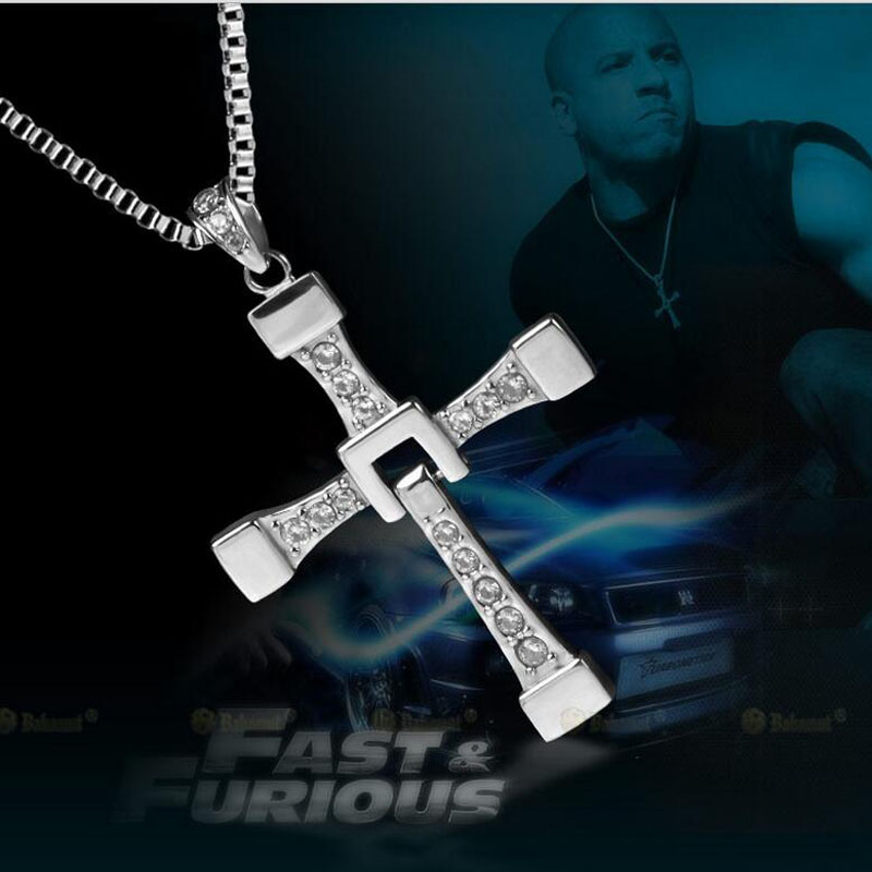 Fast and Furious Dominic Toretto's Cross Pendant Necklace Silver,925 Sterling Silver Cross Necklace Pendant(silver)(China (Mainland))