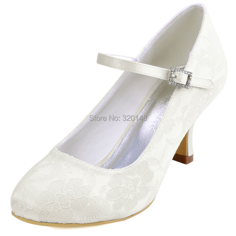 HTB15g8tPVXXXXcQXXXXq6xXFXXX2 - Woman White Ivory Bridal Wedding Shoes Low Heels Mary Jane Comfort Rhinestones Buckle Lace lady bride Prom Party Pumps EP1085