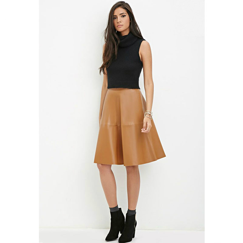new autumn a line faux leather knee length