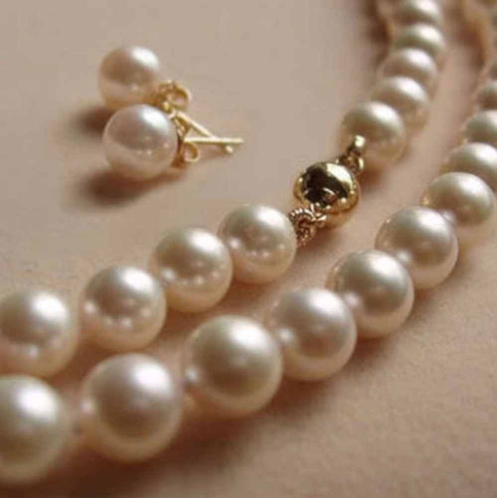"8MM White Akoya shell Pearl Necklace + Earring 18"" 4TERT(China (Mainland))"