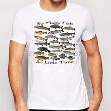Летние мужчины забавный так много рыбы пресноводные печатных майка мода новинка с коротким рукавом ти топы Homme одежда(China (Mainland))