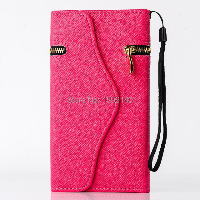 Rose cover For iPhone 4S 4 fashion three fold with zipper luxury leather case with chain for girl women Russian Spanish Brazil(China (Mainland))