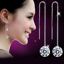 Silver Platinum Plated Crystal Round Hook Long Dangle Earrings Earring Pendant,Jewelry Wholesale EX1102(China (Mainland))