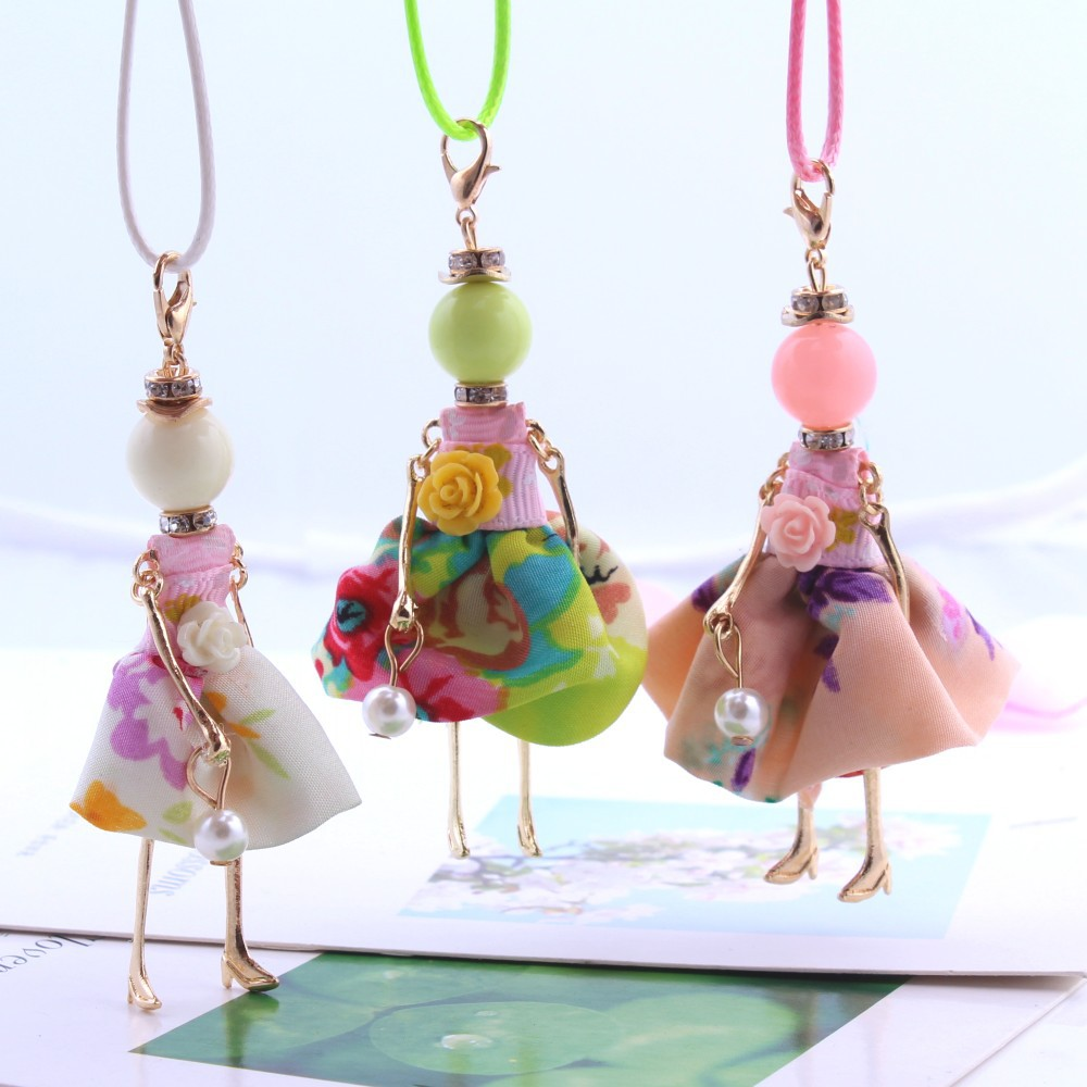 Statement Flower Doll Necklace Dress Handmade French Doll Pendant 2016 News Alloy Girl Women Flower Fashion Jewelry(China (Mainland))