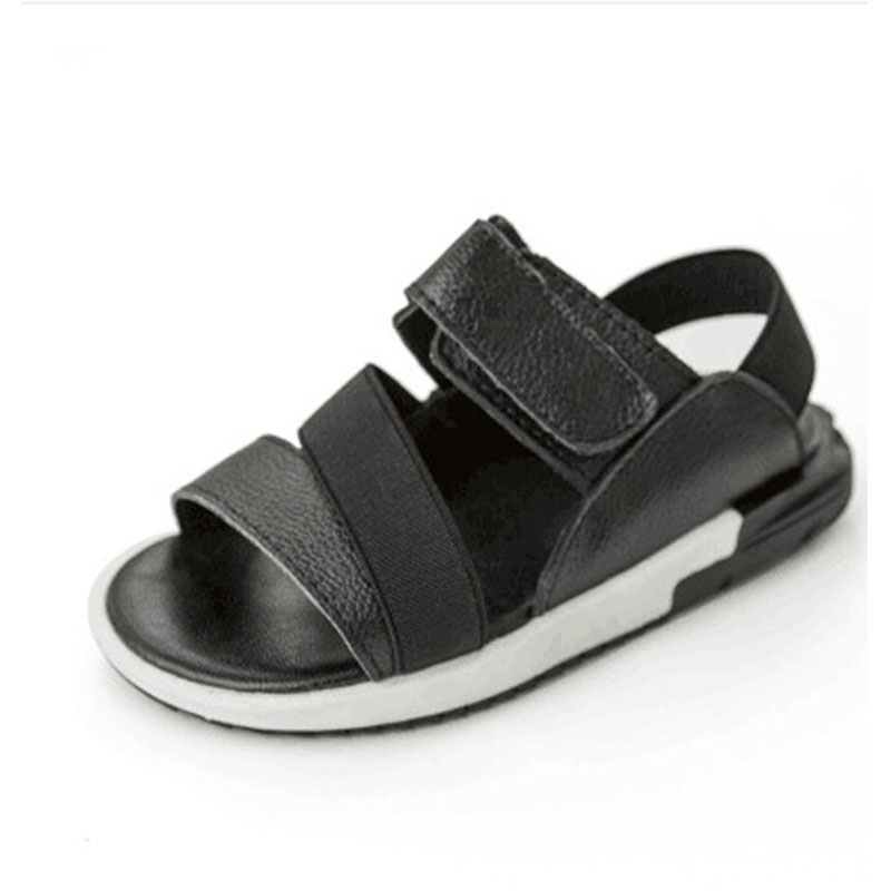 High Quality Boys Genuine Leather Beach Shoes Causal Girls White Black Patchwork Sandals Kids Antislip Footwear Boy Sandals(China (Mainland))