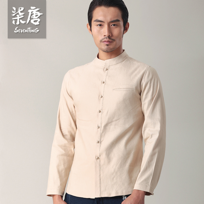 Chinese style shirt male casual long sleeve slim stand for Mens shirt collar styles