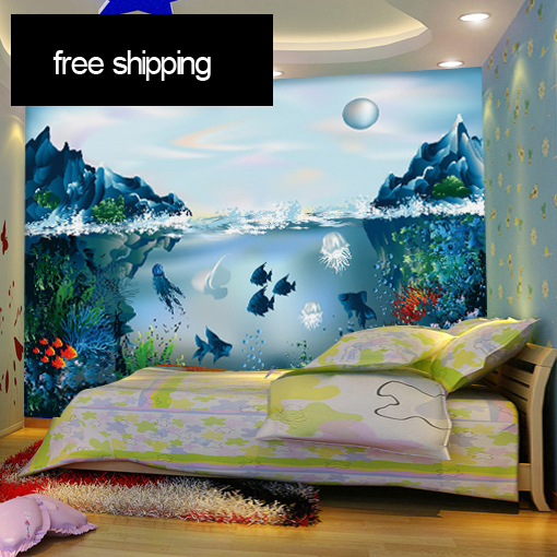 Free shipping the 3d aquarium murals underwater world of for Aquarium mural