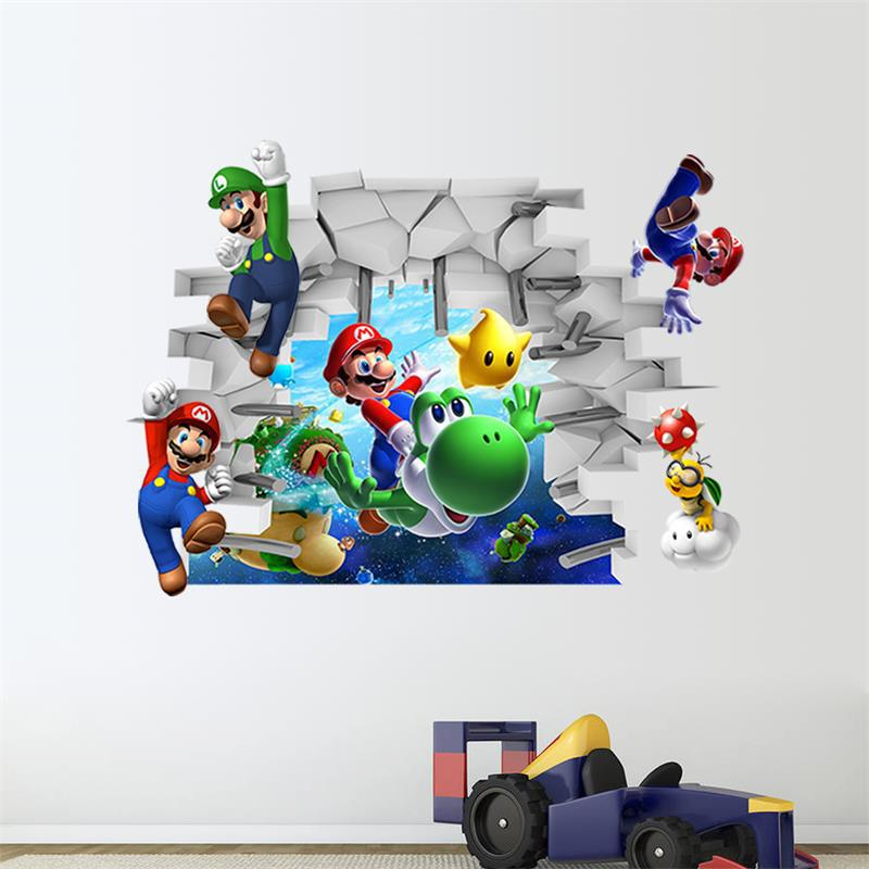 super mario wall stickers for kids room pvc wall decal zooyoo1440 diy game wall art bedroom home decor cartoon adesivo de parede(China (Mainland))