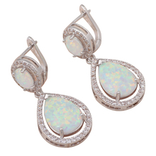 8.66g design Lowest price delicate White Fire Opal stamp Silver Dangle Earrings women Fashionl Jewelry*Opal Jewelry OE279A(China (Mainland))