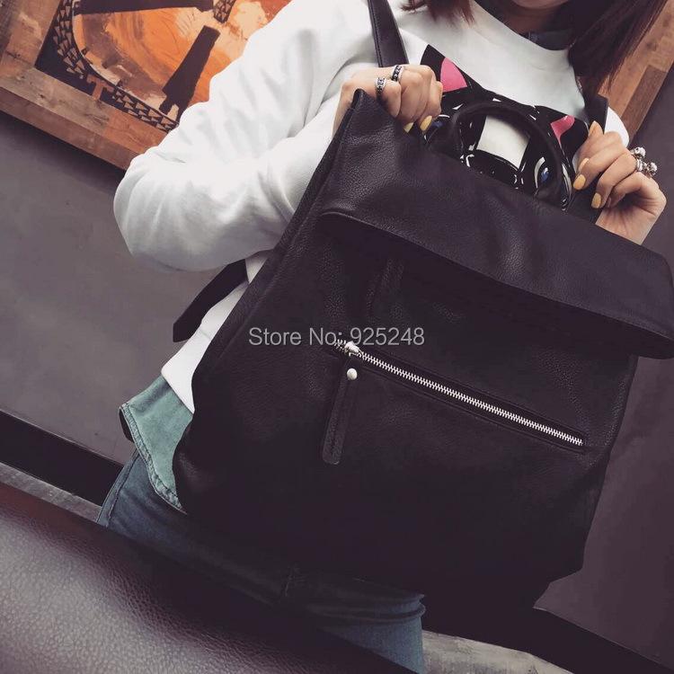 High Quality Unisex Backpack Soft PU shoulder Bag School Student Bag Preppy Style Black Color Backpacks Free Shipping <br><br>Aliexpress