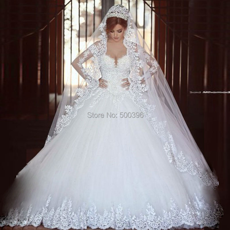 Ball Gown Wedding Dresses With Long Sleeves : Sheer long sleeves wedding dress casamento romantico ball gown