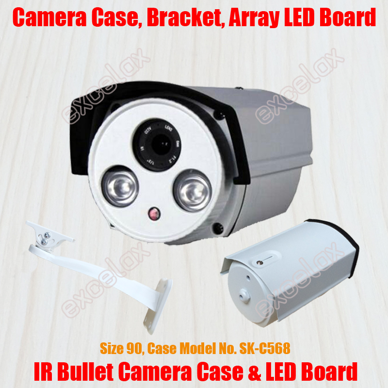 Waterproof Bullet Camera Casing & Bracket & Array LED IR Board Size 90 Aluminum Alloy Case IP66 Outdoor Housing Sunshield Cover(China (Mainland))
