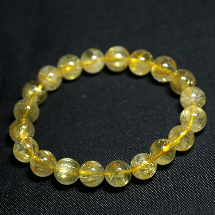 Wholesale Natural Genuine Yellow Gold Hair Needle Rutile Quartz Rutilated Finished Stretch Bracelet Round Jewelry beads 04200<br><br>Aliexpress