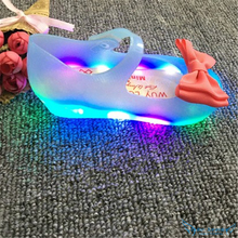 6Pairs/lot Children Jelly Sandals with LED Light 2016 New PVC Mini Melissa Ultragirl Crystal Beach Shoes Kids Children Rain Boot