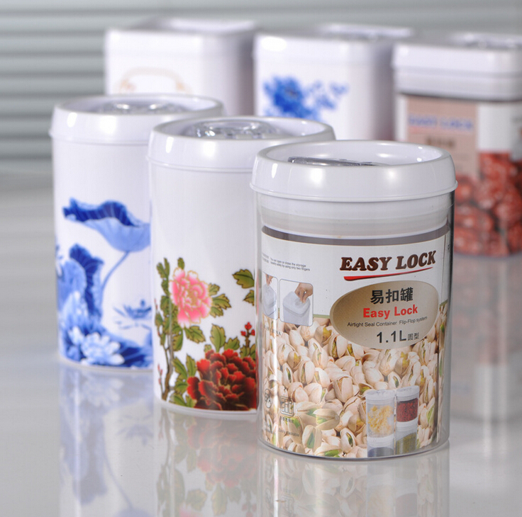 3colors Easy lock plastic cookie candy jar jam mason jars lid tea cans kitchen storage airtight container 1.1L(China (Mainland))