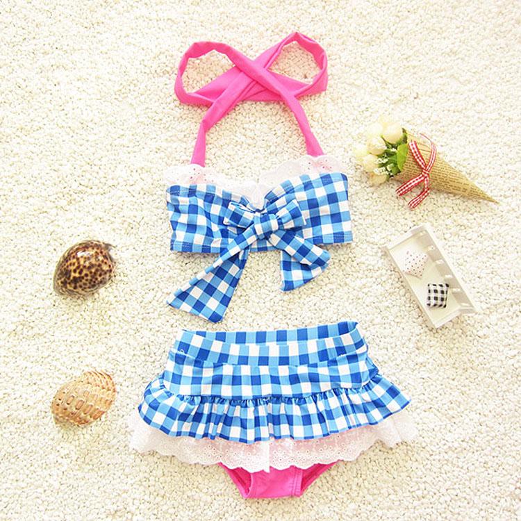 children swimwear girls bikini 2016kids beachwear child girl checks print children's - Ningbo Yinzhou Chenfeng Garment Factory store