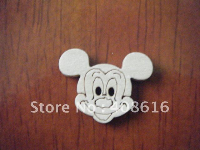 Micky mouse wood button two-holes/catoon craft DIY scrapbook for child/novelty toy button/sewing fastener,300/lot