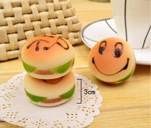 20pcs/lot ,Free Shipping, Squishy Buns humburger Charms with rope/mobile Pendant/phone chain/ Wholesale
