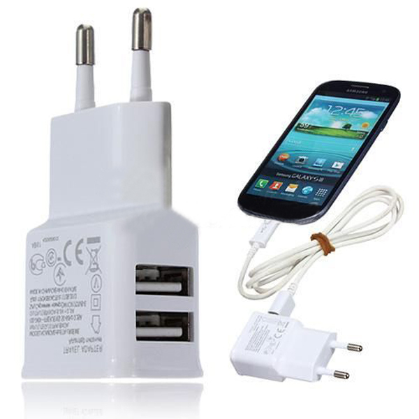 White/Black Dual USB 2-Port Home Travel Wall Charger Adapter For Samsung iphone Htc MP3 MP4 Player EU Plug(China (Mainland))