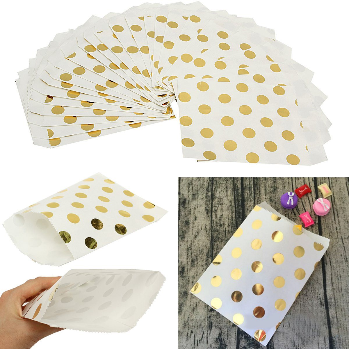 25pcs/lot Wedding Foil Paper Bag Candy Paper Bags Gold Favors Birthday Gifts Decoration Children's Day Party Supplies(China (Mainland))