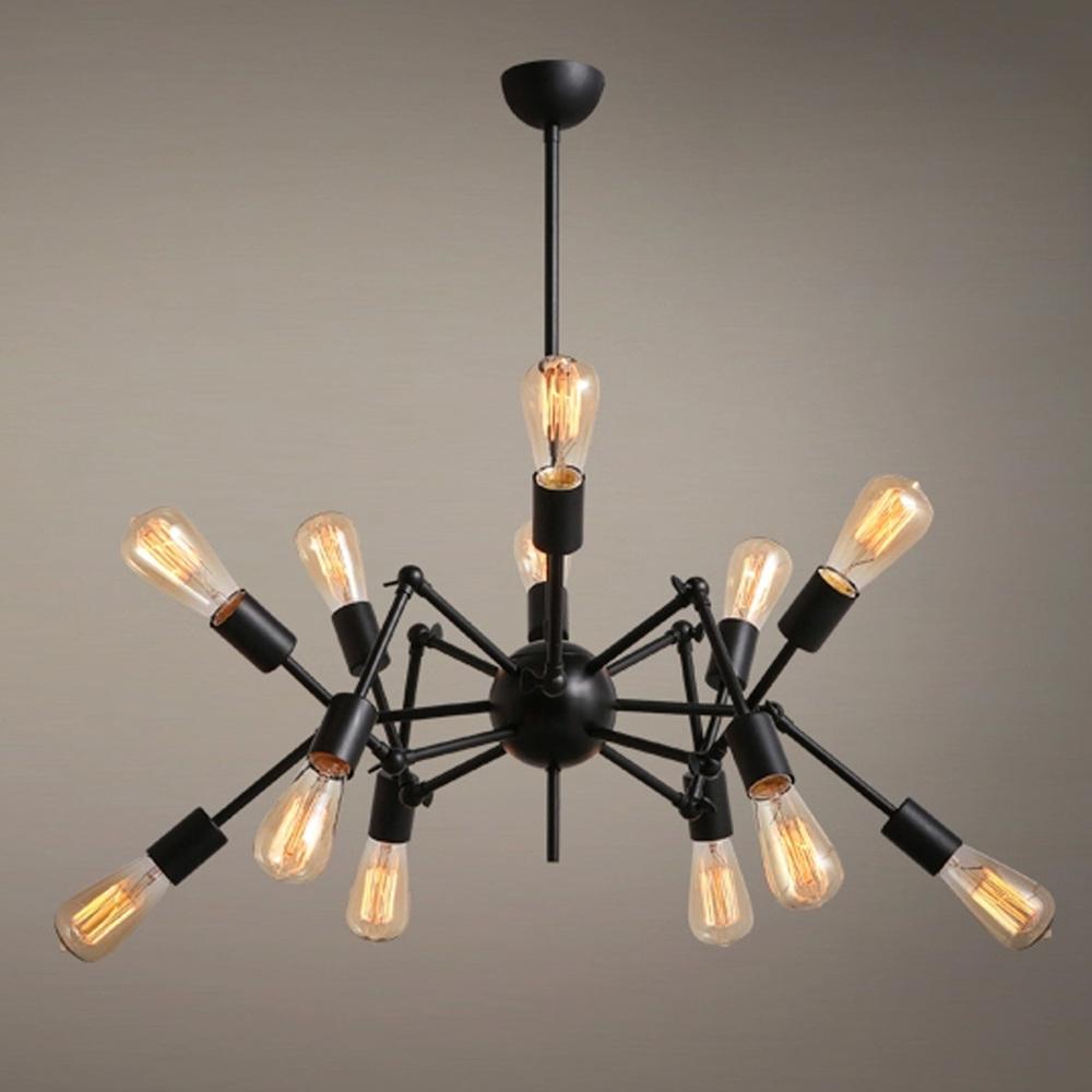 Novelty Lighting Fixtures : New Novelty Vintage Loft Style Pendant Light Black Spider Shaped Pendant Lamp Fashion Dining ...