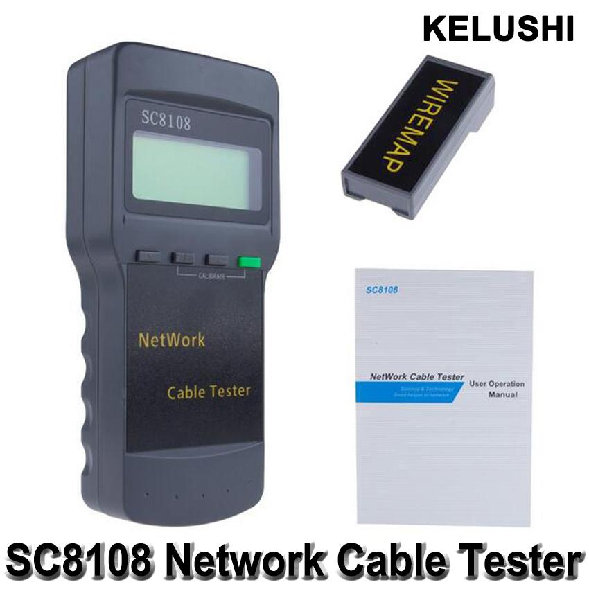 KELUSHI Portable Multifunction Wireless Sc8108 LCD Digital PC Data Network CAT5 RJ45 LAN Phone Meter Length Cable Tester Meter(China (Mainland))