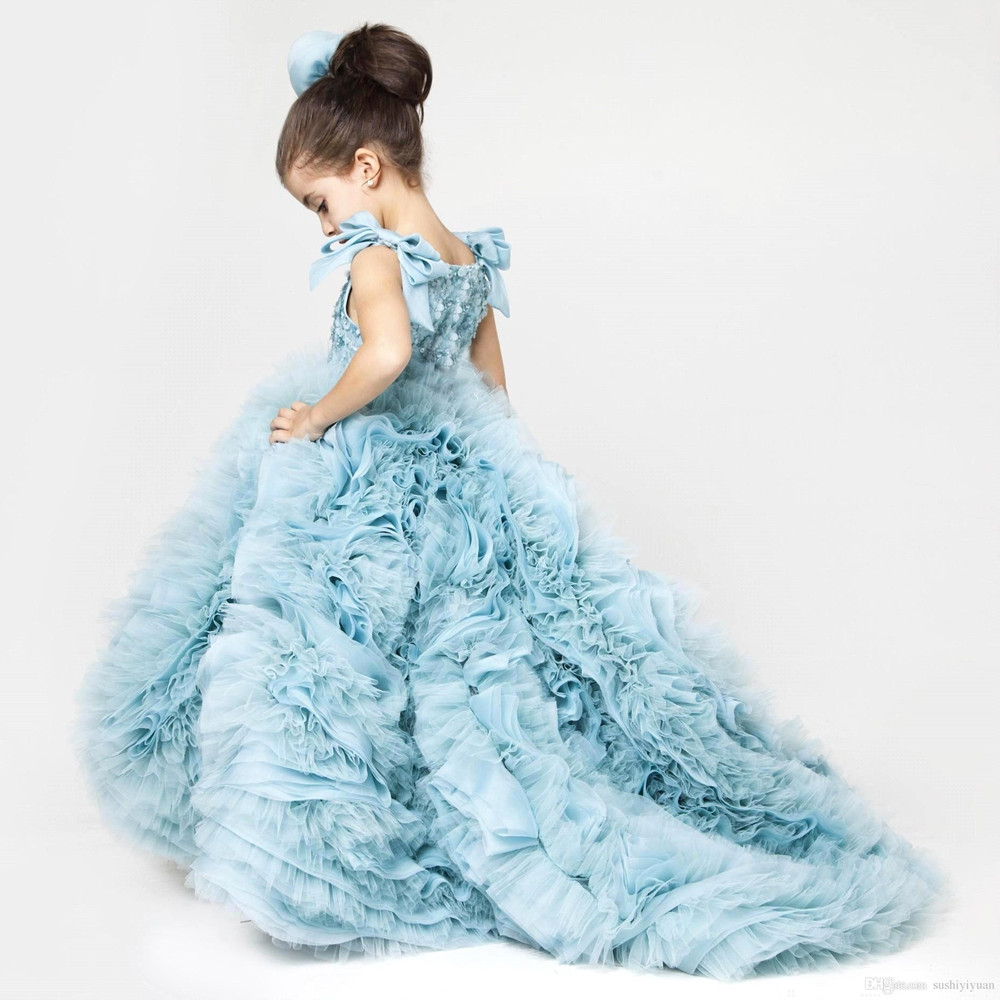 Girls Prom Gown Appliqued Ruffles Glitz Pageant Floor Length Flower Girls Dresses Party Children Ball Gown Girls Piano Costumes(China (Mainland))