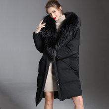 2018 Для женщин oversize пуховая куртка зимние толстые длинные из меха енота 90% белая утка вниз dacket женщина с капюшоном для Зима 1801242(China)