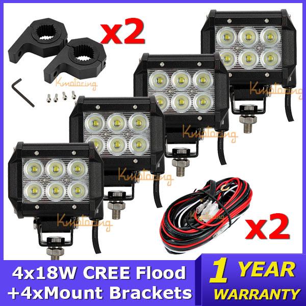 Система освещения Brand New 4' 4x18W Offroad 4 x 4 + 4xMount + 2xWire система освещения brand new 50 288w offroad 4wd atv 4 x 4