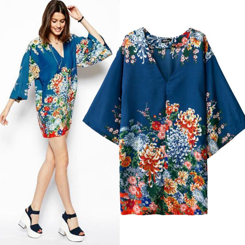 v neck kimono style dress sleeves