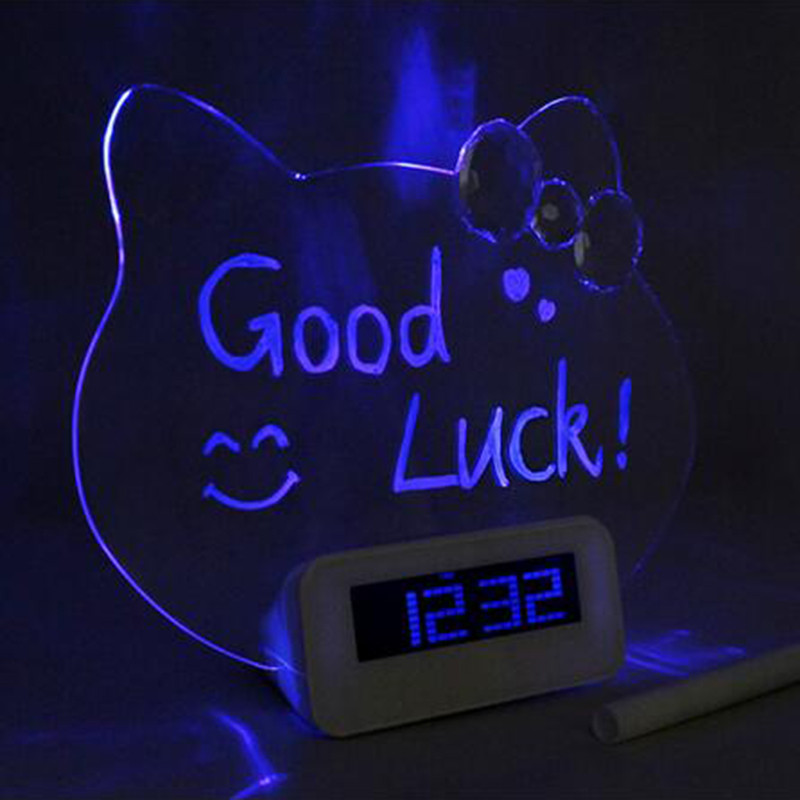 1 pcs LED Fluorescent Digital Alarm Clock with transpant Message Board and pen Snooze Clock Calendar Desk decor Clock EA(China (Mainland))