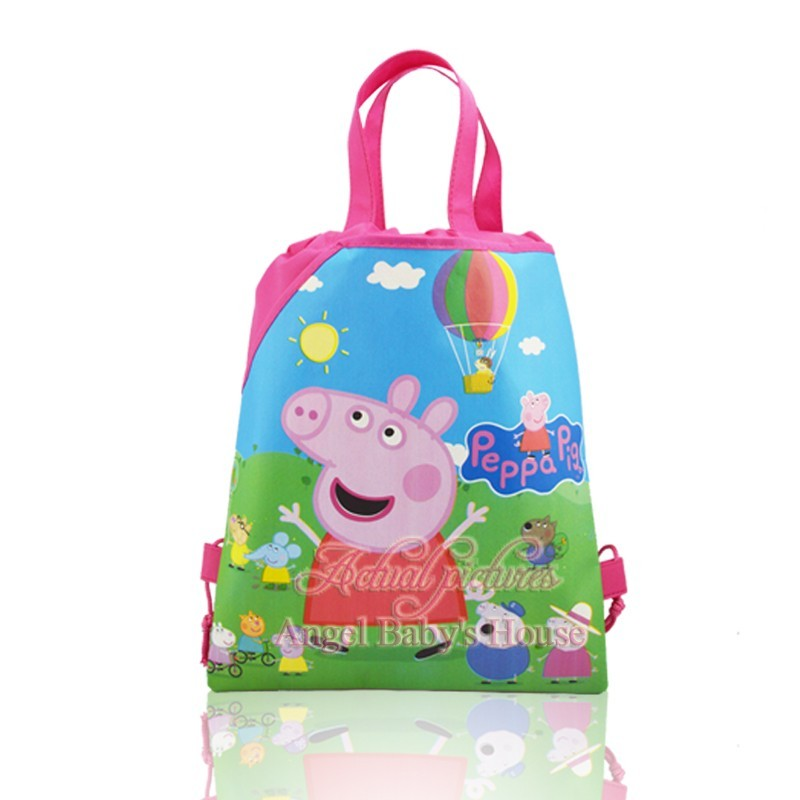 Novelty 1Pcs/lot Lovely Pig Cartoon Drawstring Backpacks Kids Party Bags,School Shopping Bags,34*27cm Birthday party Gifts(China (Mainland))