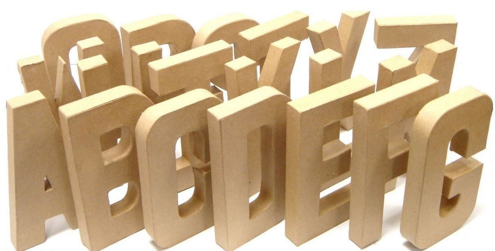 3d stand up alphabet letters cardboard paper mache for for Alphabet letters cardboard
